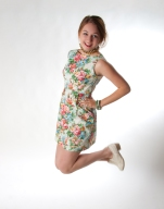 1960's inspired dress featuring an explosion of woven flowers
