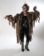 Shredded fur coat with beaded tank dress underneath. Winner of the National Youth Theatre Award 2010